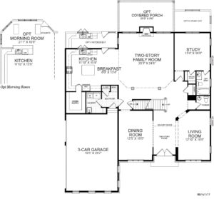 First floor plan for the Potomac model home.