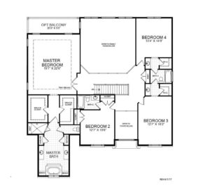 Second floor plan for the Potomac model home.