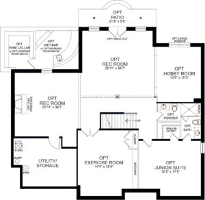 Optional finished basement plan for the Rosslyn model home.