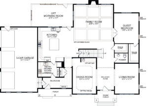 First floor plan for the Rosslyn model home.