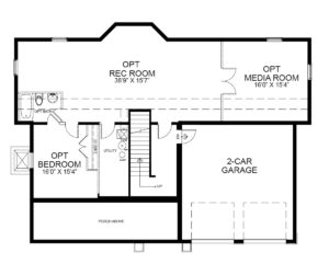 Optional finished basement plan for the Rosedale model home.