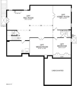Optional finished Basement plan for the Summerset model home.