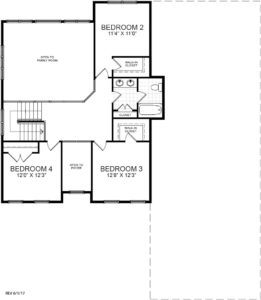 Second floor plan for the Summerset model home.