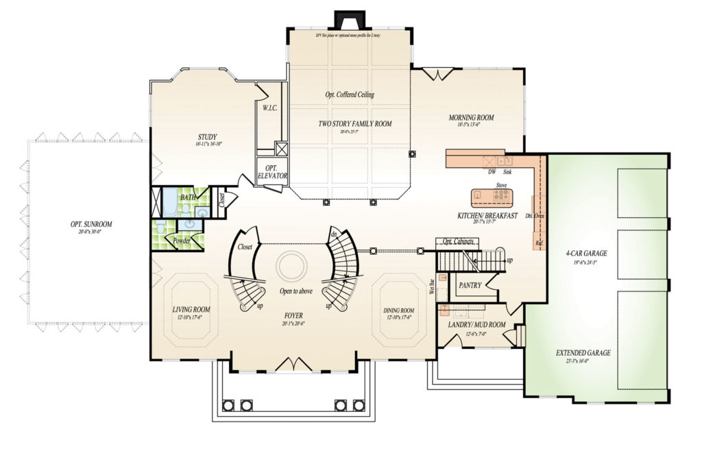 First floor plan for the Washington model home.