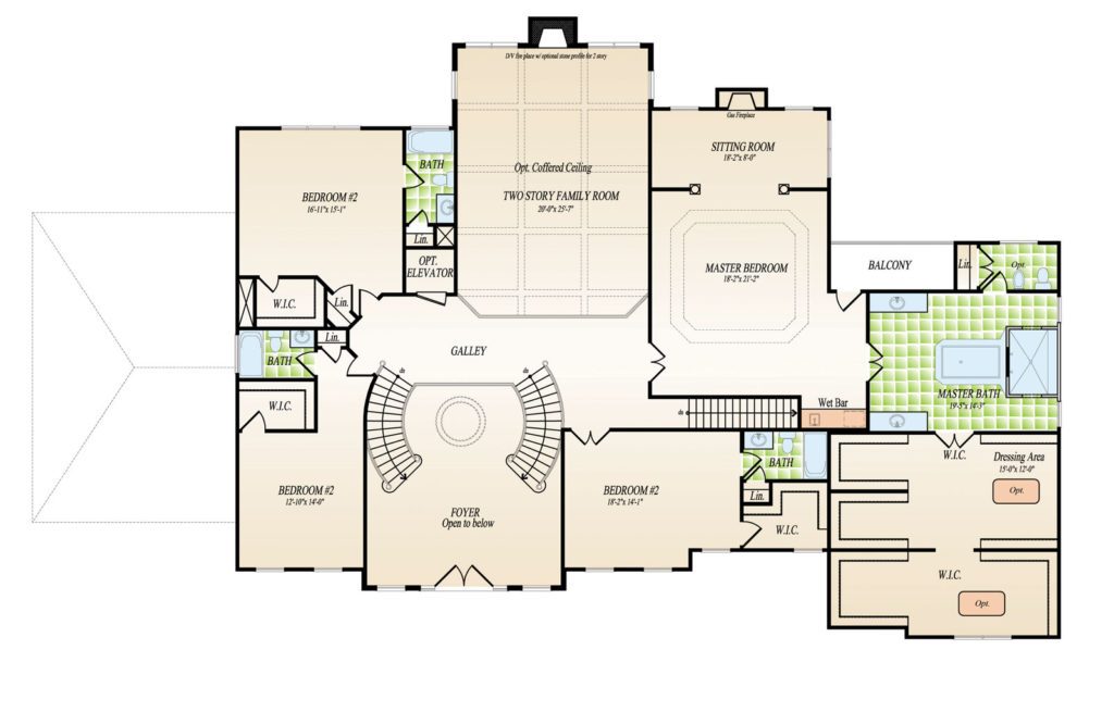 Second Floor plan for the Washington model home.