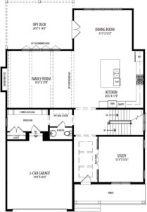 First floor plan for the Willow model home.