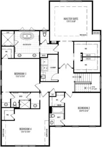Second floor plan for the Willow model home.