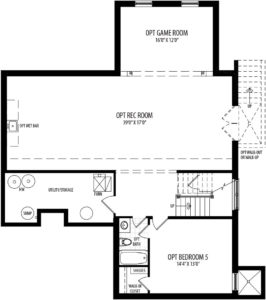 Optional finished Basement plan for the Willow model home.