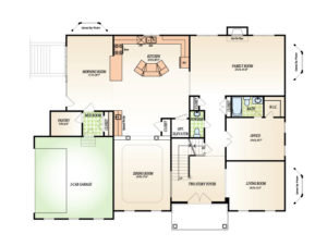 First floor plan for the Winterberry model home.