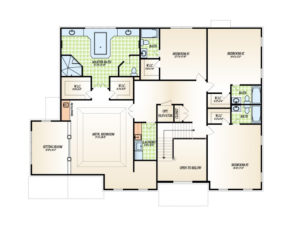 Second floor plan for the Winterberry model home.