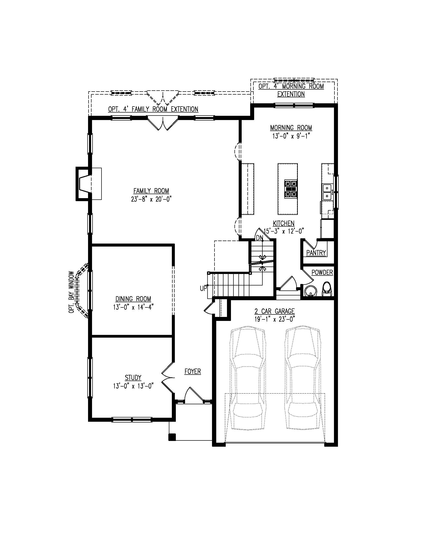 The first floor plan for the Beech Tree model home.
