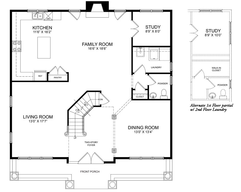 The first floor plan for the Chatham II model home.