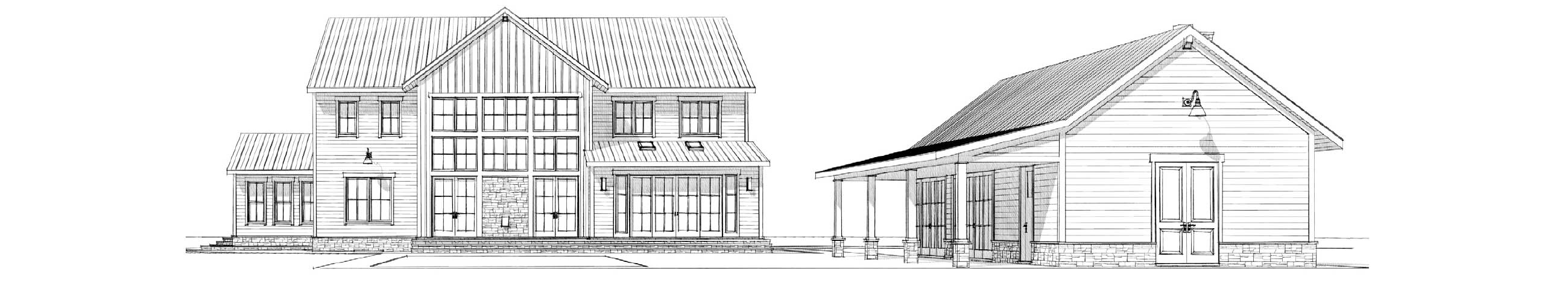 Architectural drawing of the rear exterior of a modern farmhouse style home.