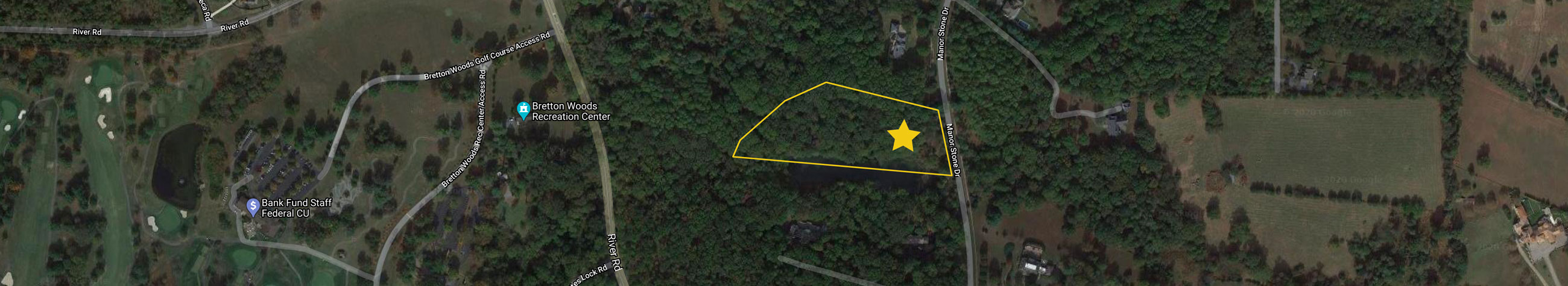An aerial image showing the site outline for 13316 Manor Stone Dr