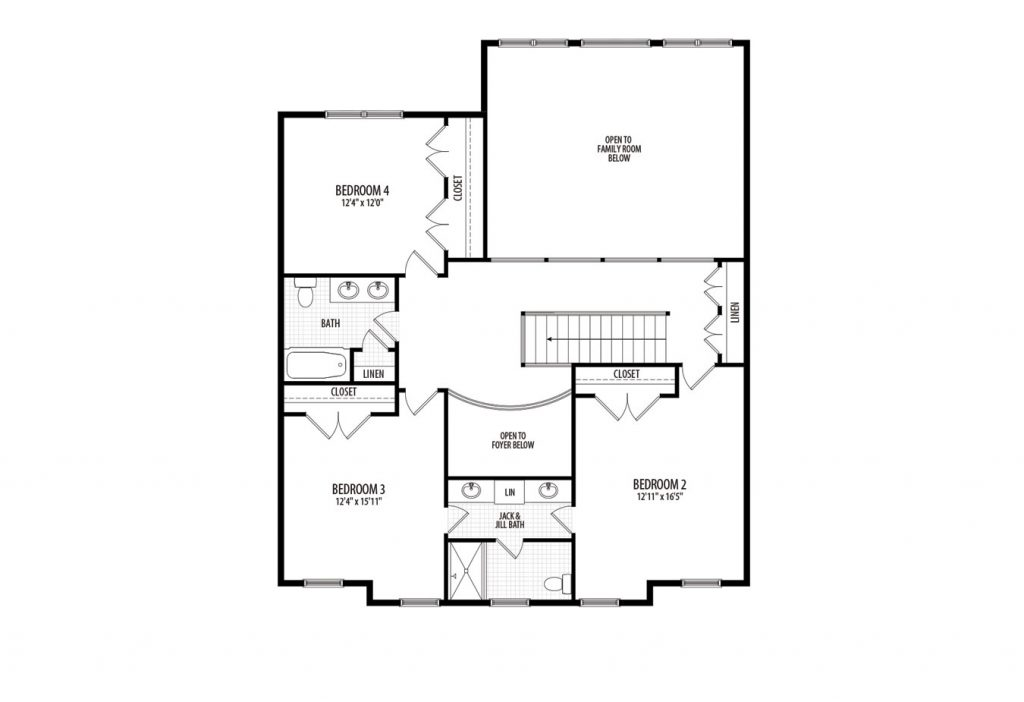 Second floor plan of proposed custom home for 15155 River Rd