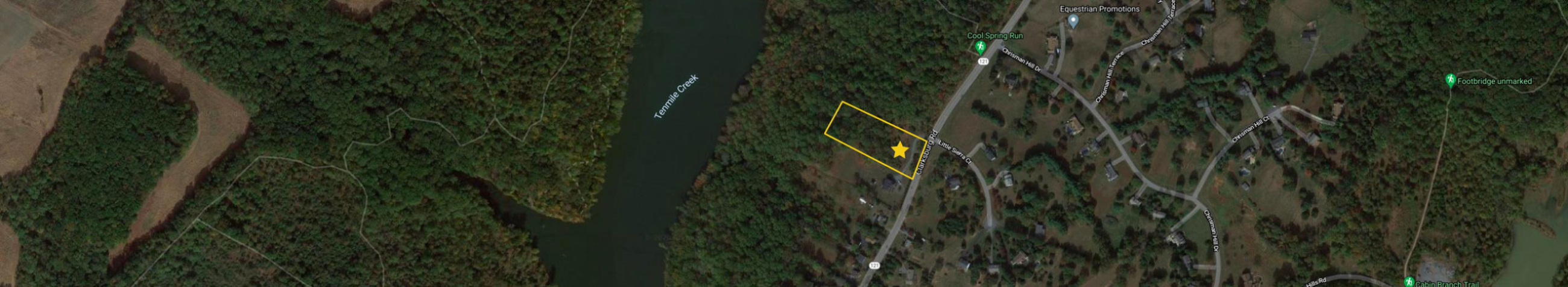 A distant aerial of 21120 Clarksburg Rd, showing Tenmile Creek and the trail head for Cool Spring Run