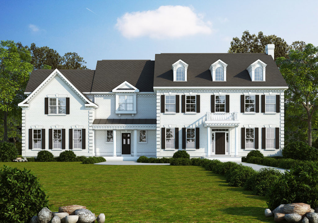 White brick rendering for the exterior of the proposed home for this Briarbush drive package