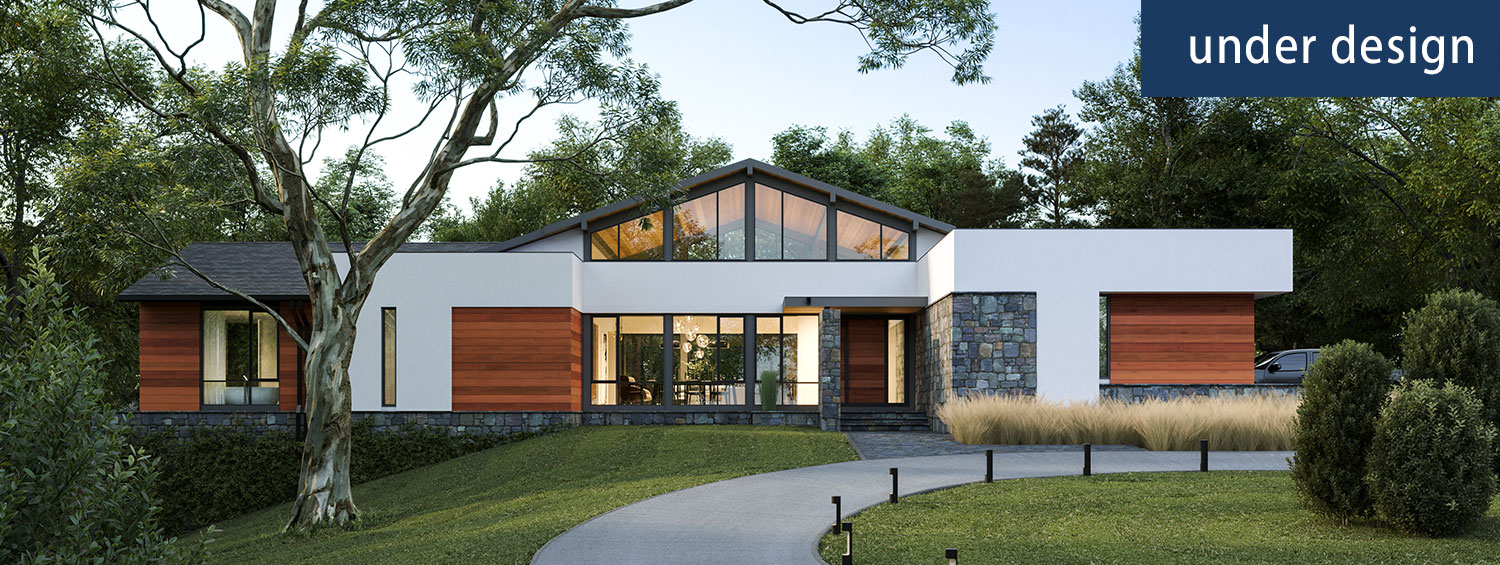 Cover image for the Riverwood custom home, a contemporary one level plan
