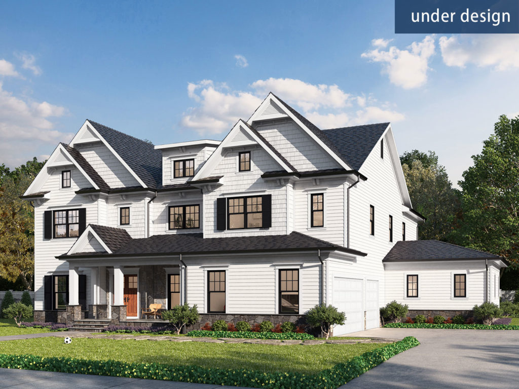 An exterior rendering of the proposed elevation for 9435 Rosehill Dr Bethesda MD 20814