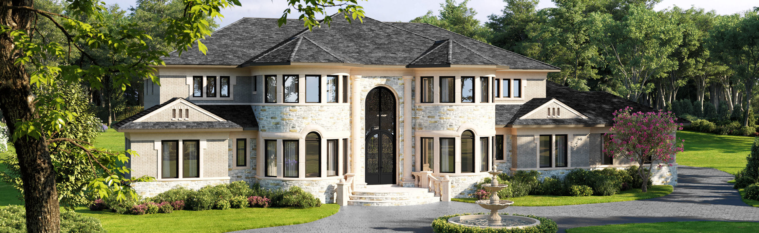 exterior rendering of a proposed home for the lots at Falconhurst, Potomac, MD