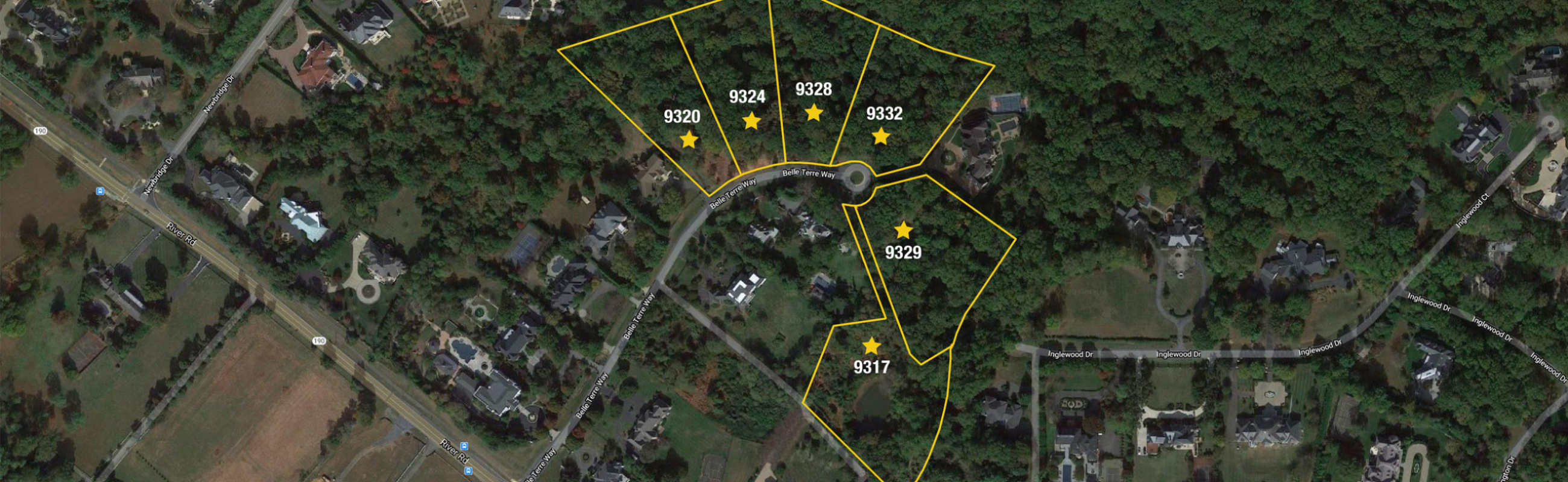 aerial image showing the site outlines for 9320, 9324, 9328, 9332, 9329 and 9317 Belle Terre Way, Potomac, MD 20854
