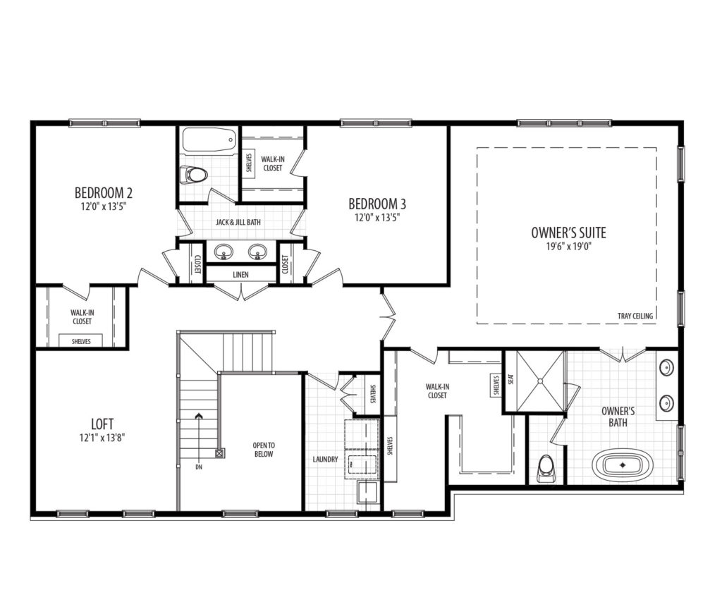 second floor of the proposed home, includes loft area