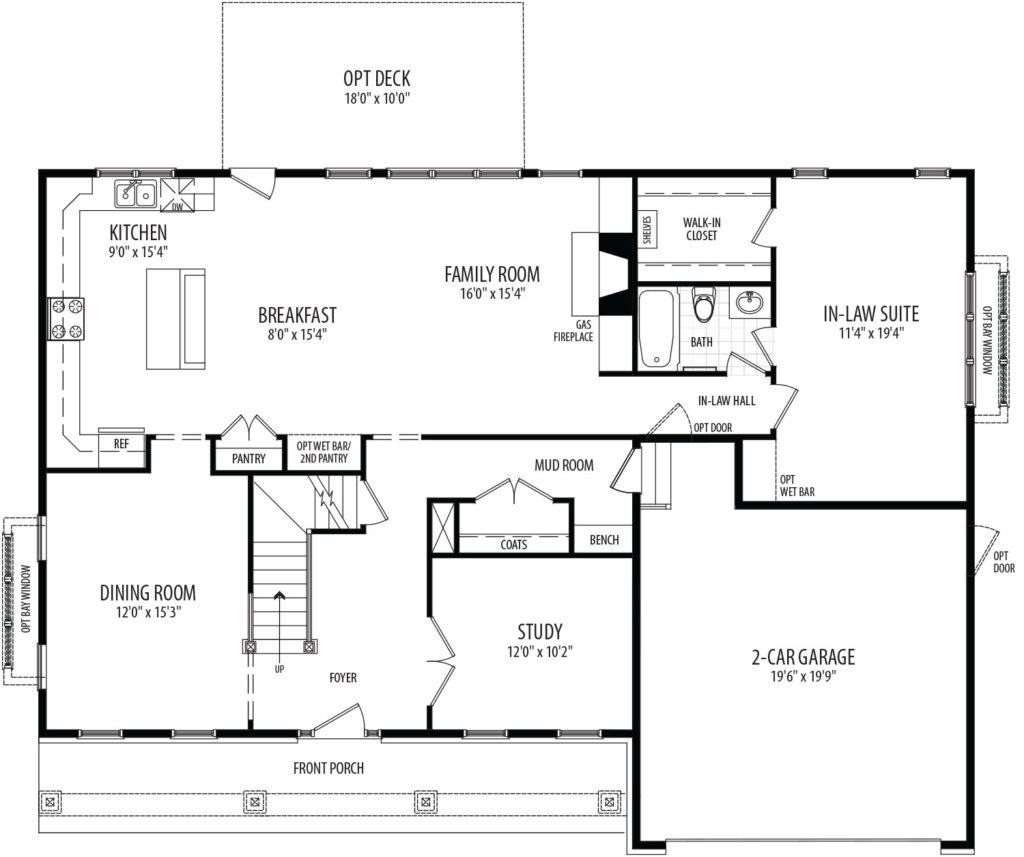 first floor plan of proposed home, includes front porch and in-law suite