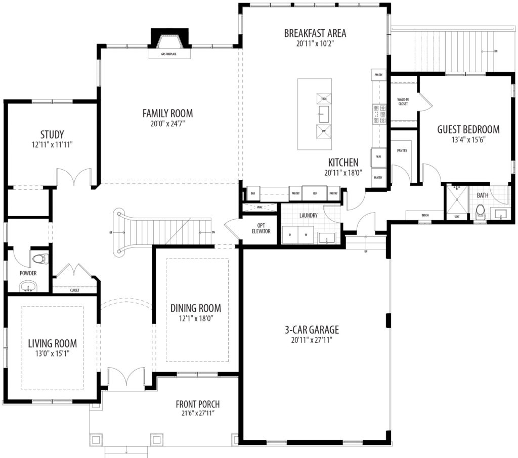 first floor plan for the proposed home, includes 1st floor guest bedrrom, 3 car garage, front porch, large breakfast area