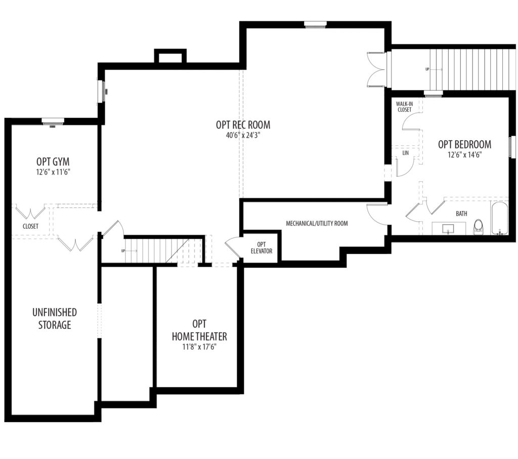 an optional basement plan for the proposed home