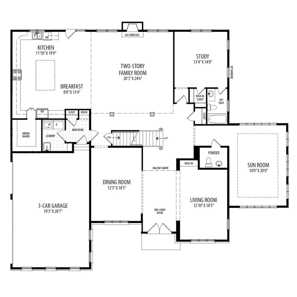 The first floor plan for the proposed home for 9510 Hall Rd, includes Sun Room and shows Study w/ Opt Bath