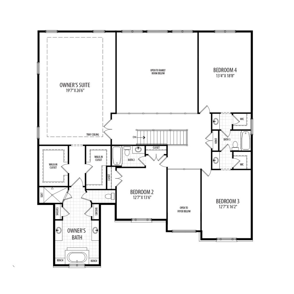 The second floor plan for the proposed home at 9510 Hall Rd
